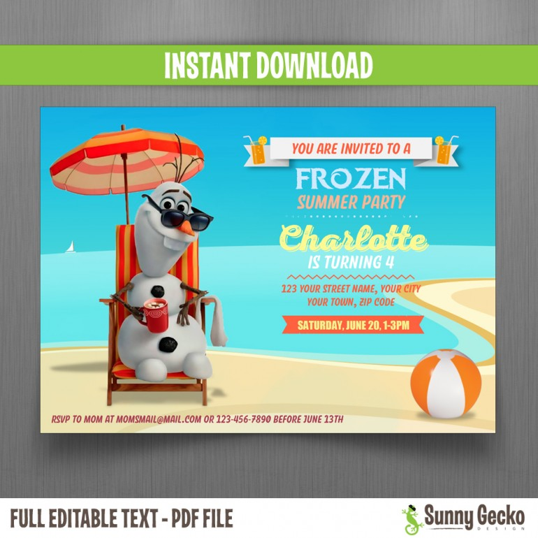 Frozen Summer Olaf Birthday Invitation (Design 2)
