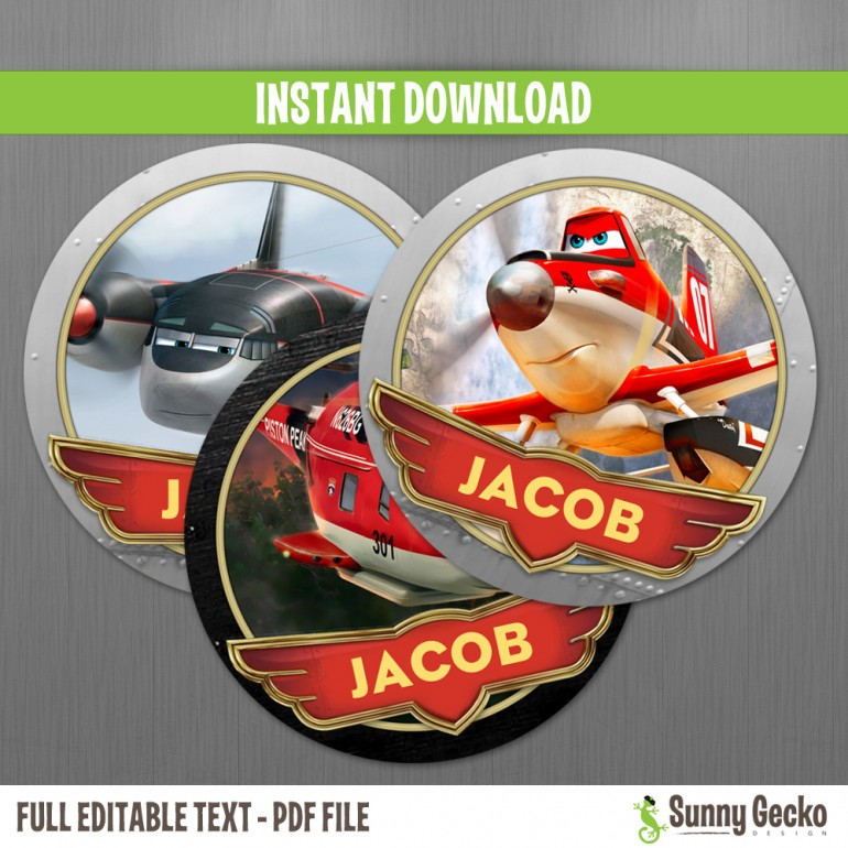 Planes Fire and Rescue Birthday Labels