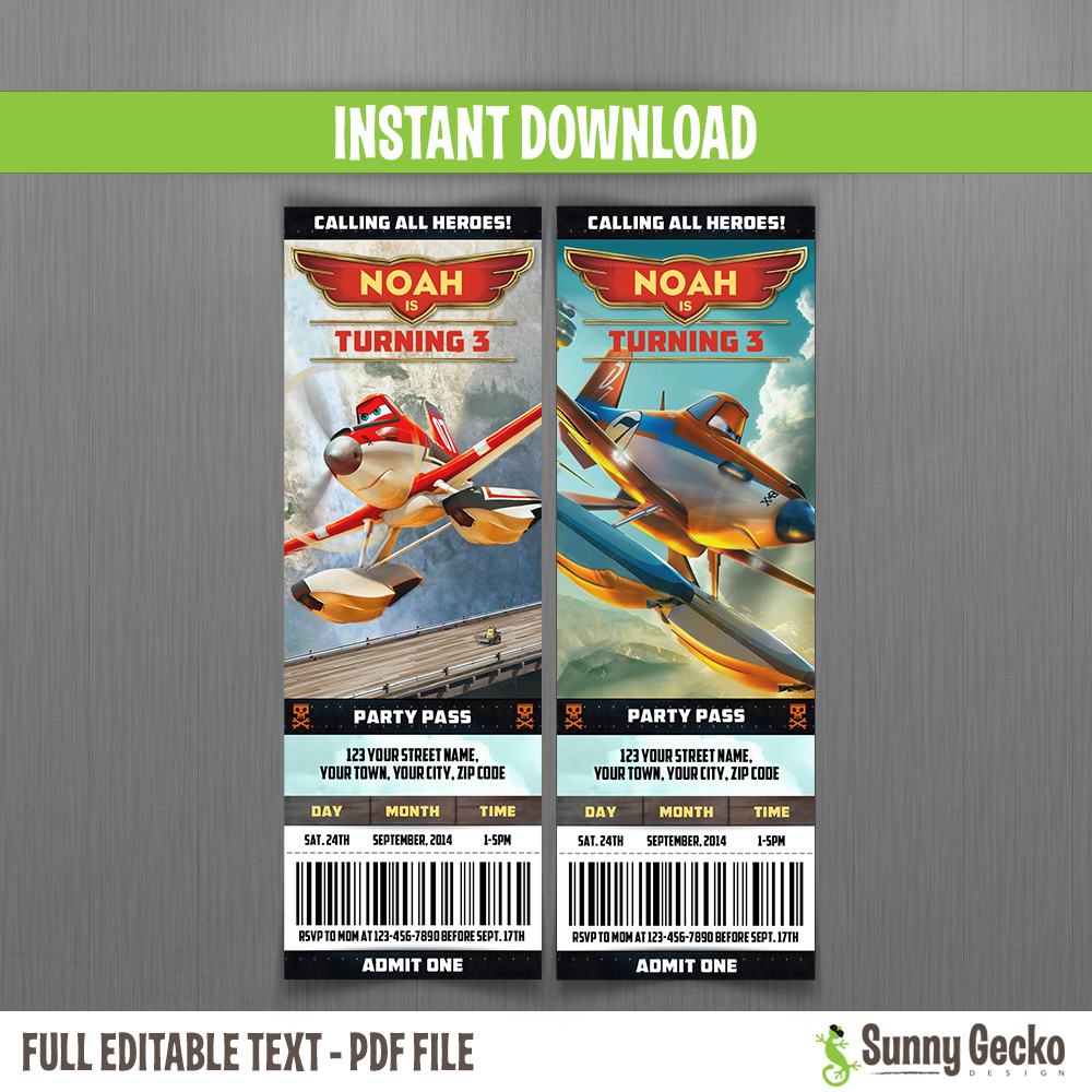 Planes Fire Rescue Birthday Ticket Invitations Instant Download