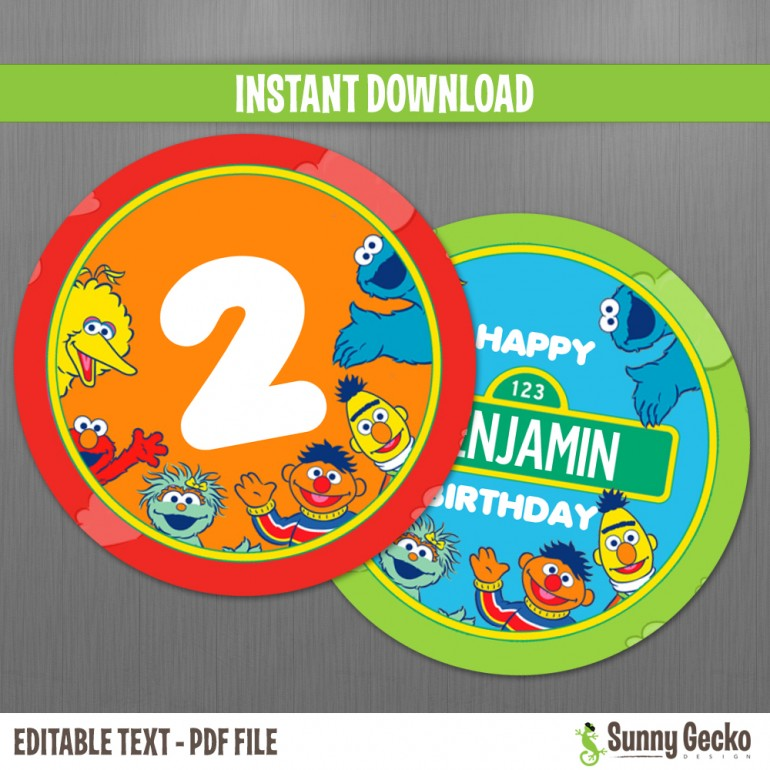 Sesame Street Birthday 2in. Circle Labels