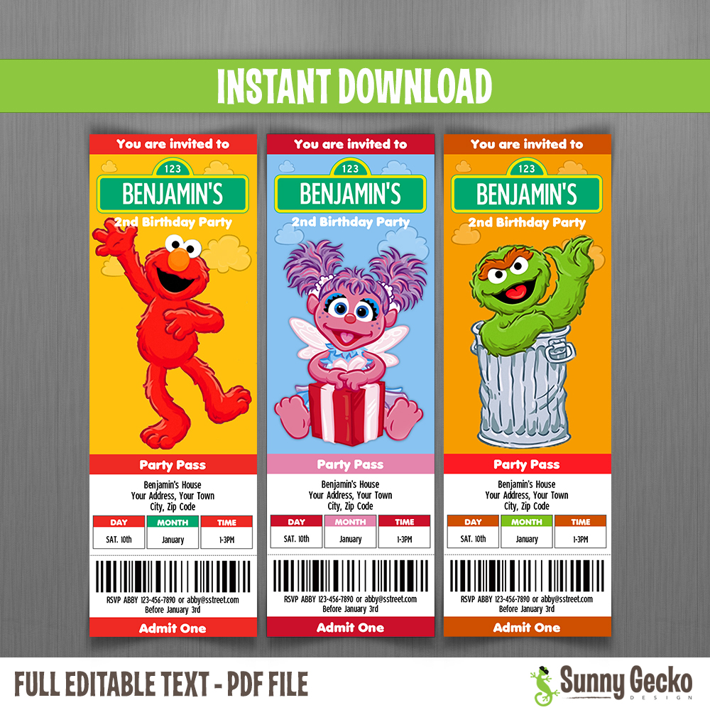 Sesame Street Birthday Ticket Invitations Set 2 Instant And Edit With Adobe Reader