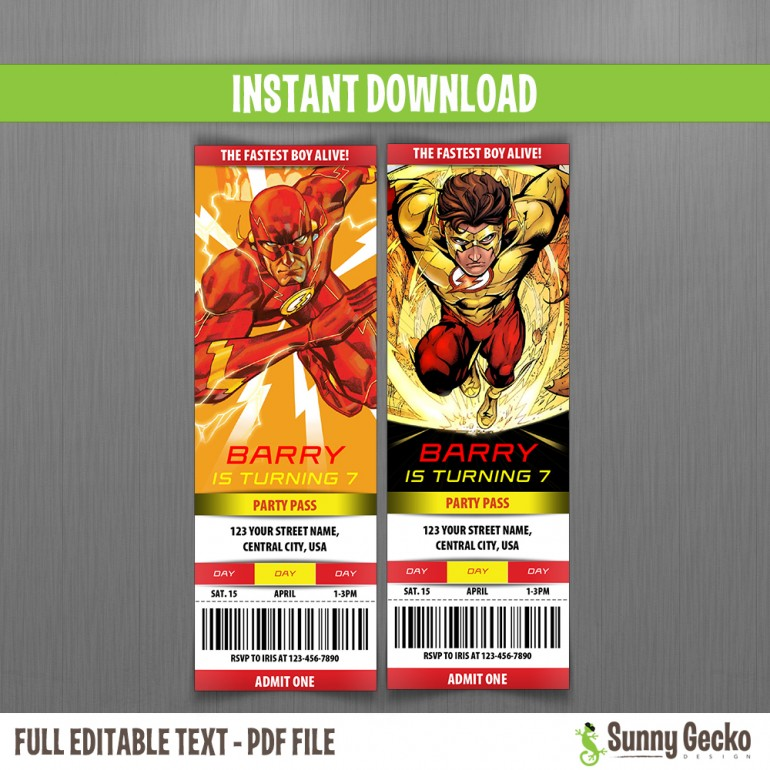 The Flash (Comics) Birthday Ticket Invitations