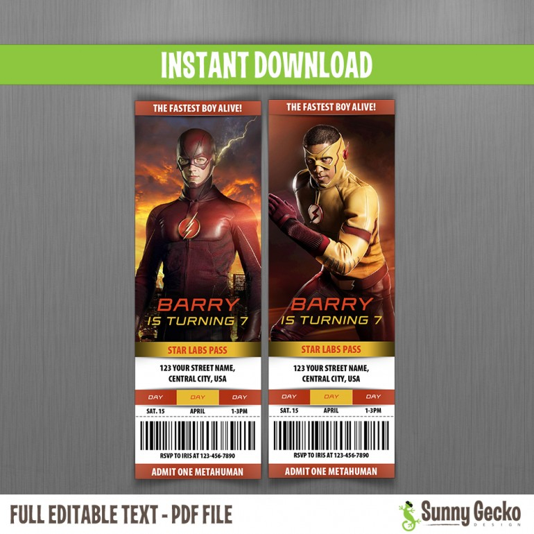 The Flash Birthday Ticket Invitations - Instant Download ...