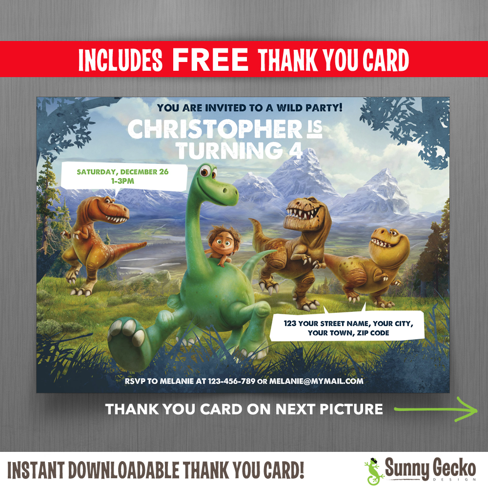 The Good Dinosaur 7x5 In Birthday Party Invitation With Free