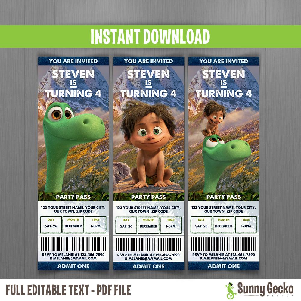 The good dinosaur birthday ticket invitations instant download the good dinosaur birthday ticket invitations filmwisefo