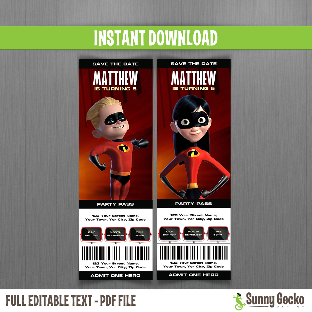 The Incredibles Birthday Ticket Invitations  Party Ticket Invitations