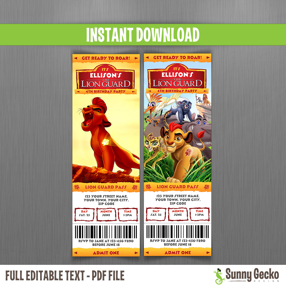 The Lion Guard Birthday Party Collection Instant Download and – Lion Birthday Invitations