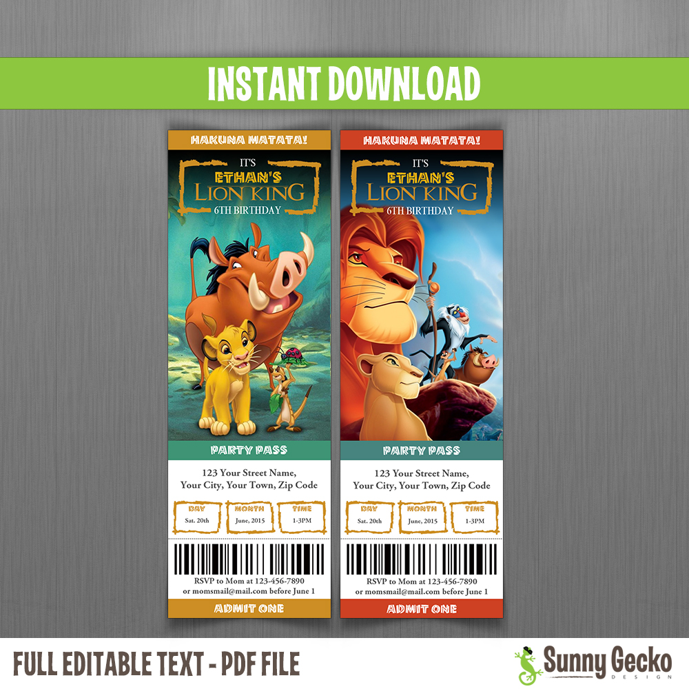 The Lion King Birthday Ticket Invitations Instant