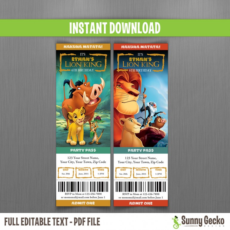 The Lion King Birthday Ticket Invitations