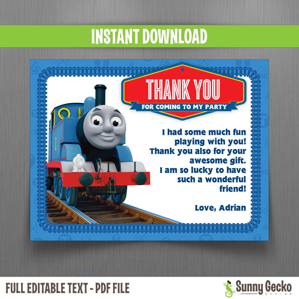 Thomas The Train Birthday Thank You Cards - Instant Download and ...