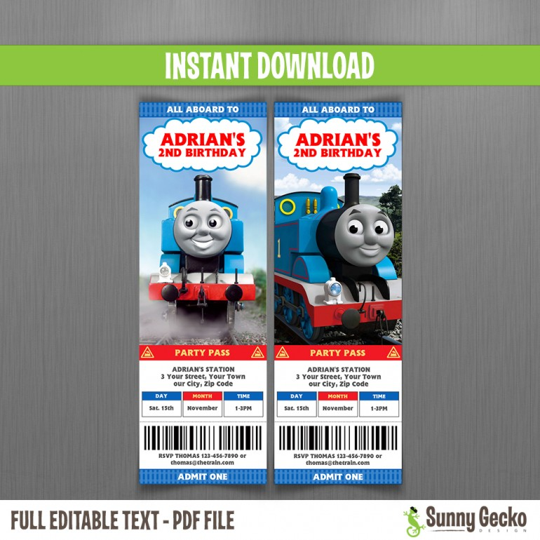 Thomas The Train Birthday Ticket Invitations