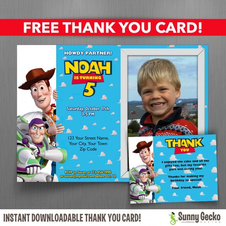 Toy Story 7x5 or 6x4 in. Birthday Party Invitation with FREE editable Thank you Card