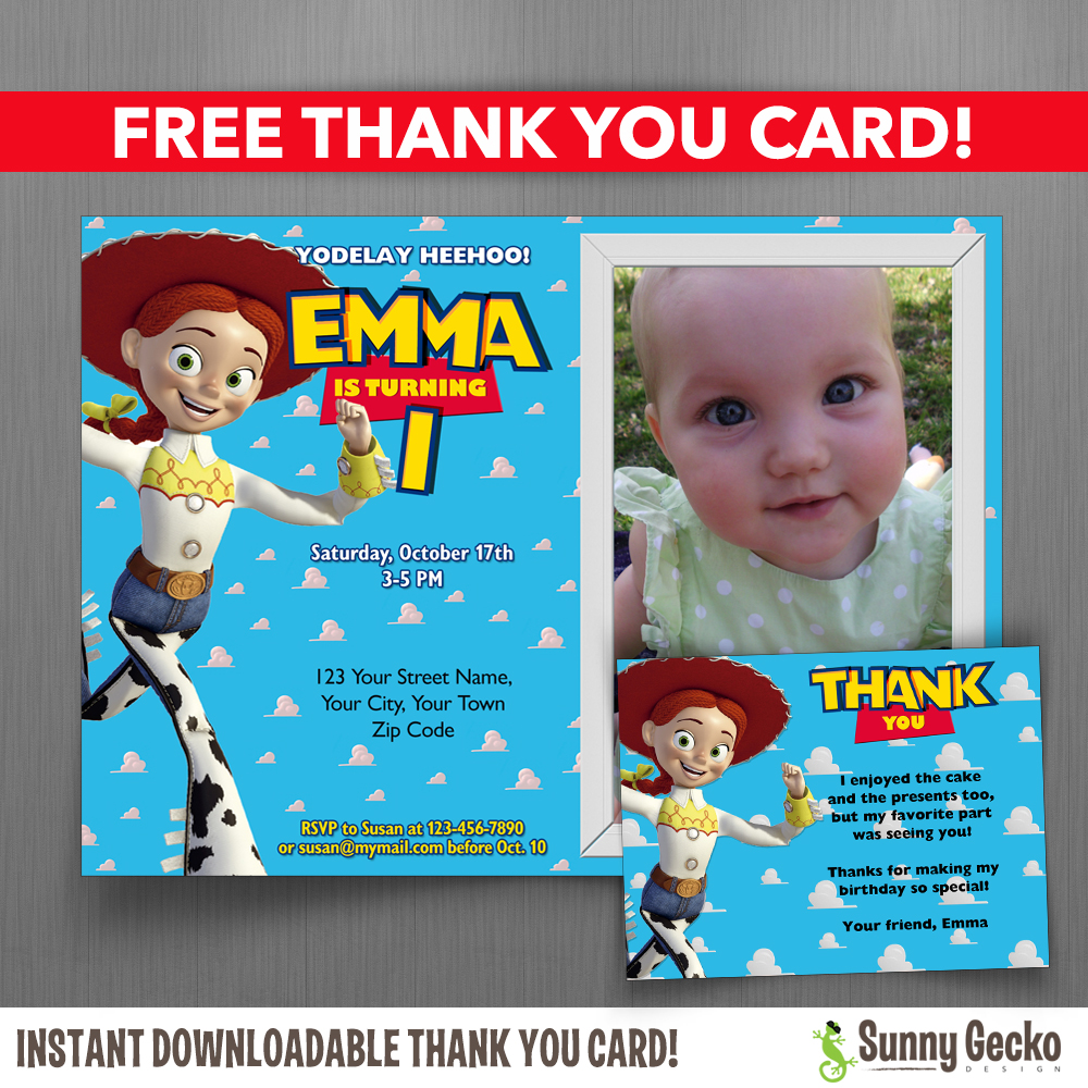 toy story jessie 7x5 or 6x4 in birthday party invitation with free