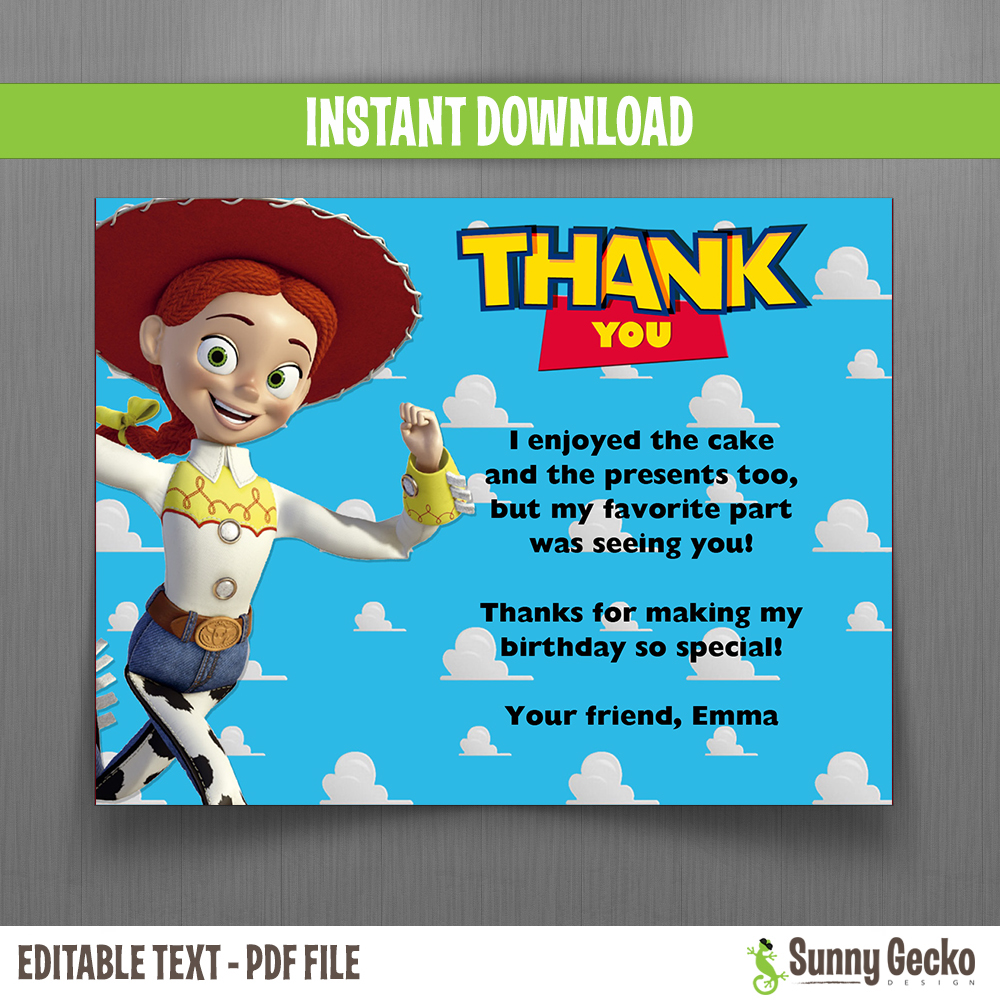 Disney toy story birthday thank you cards jessie instant toy story birthday thank you cards jessie bookmarktalkfo Image collections