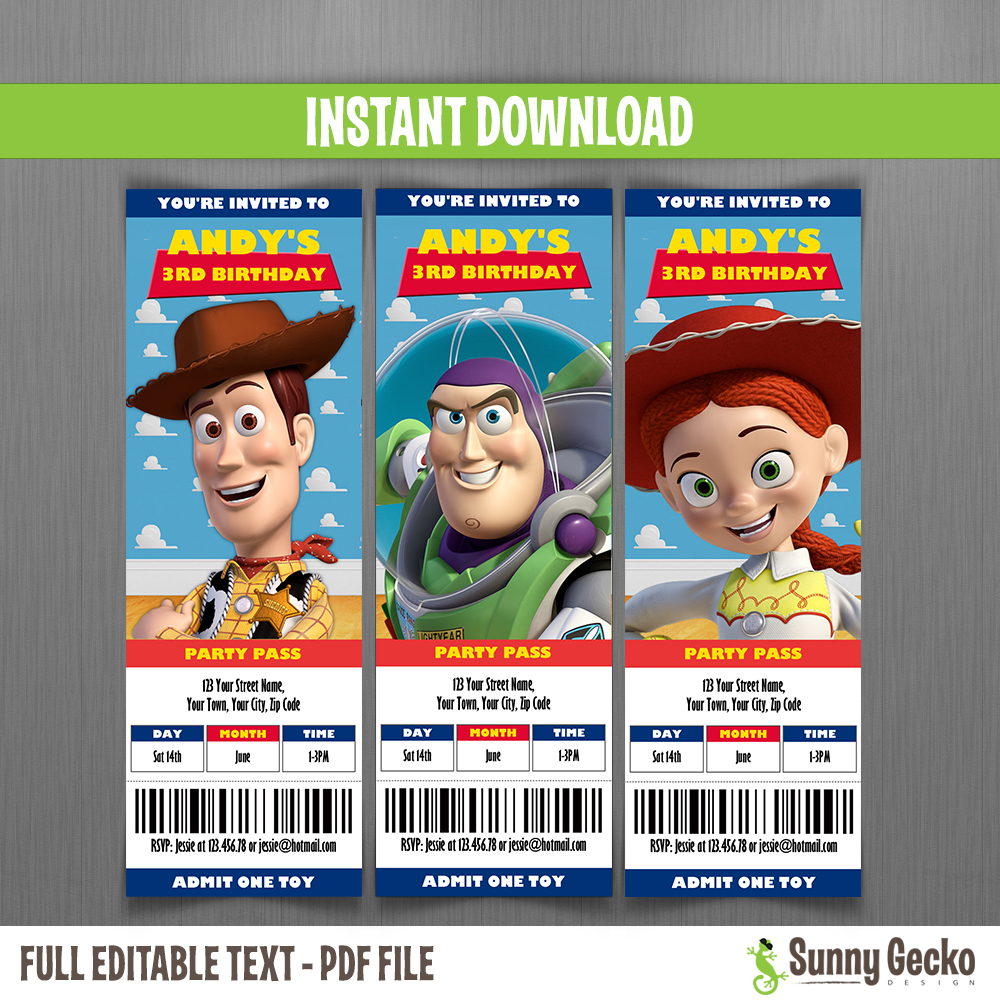 toy story ticket invitations instant download and edit with adobe