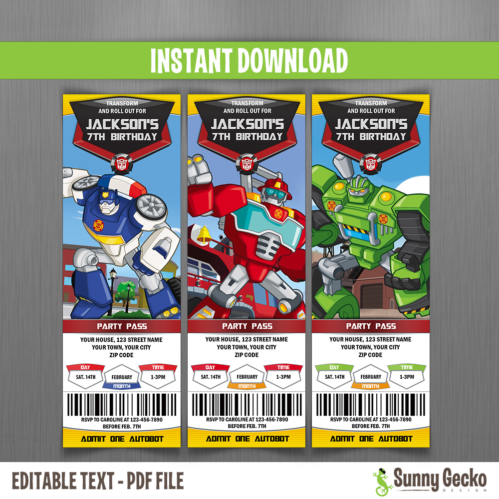 transformers rescue bots ticket invitations instant download and