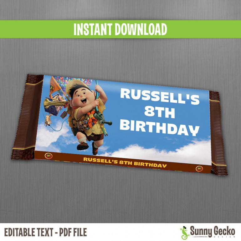 Up Birthday Hershey Chocolate Wrappers