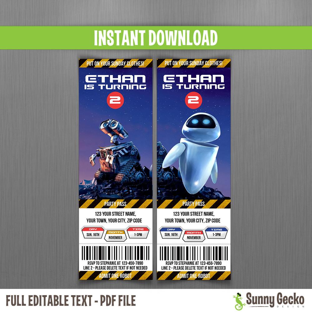 WALL E Ticket Invitations