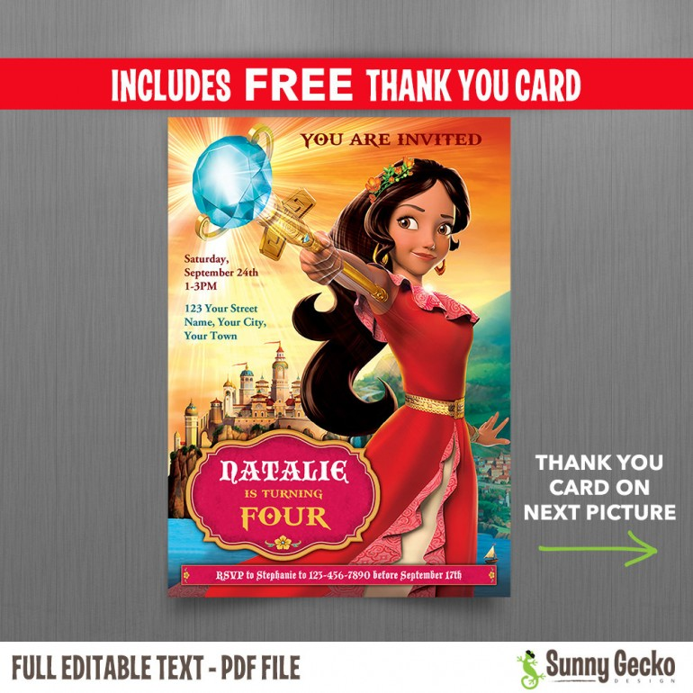 Elena of Avalor 5x7 in. Birthday Party Invitation and FREE editable Thank you Card