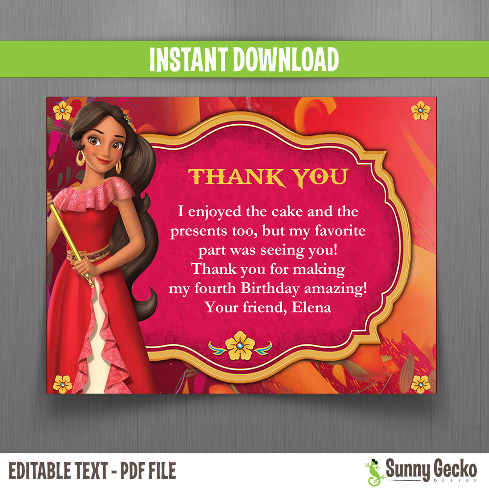 Disney elena of avalor 5x7 in birthday party invitation and free birthday party invitation and free editable thank you card monicamarmolfo Images