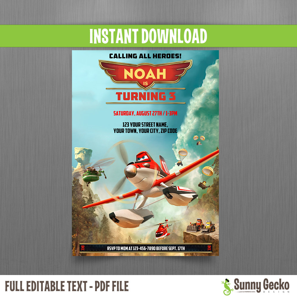 Planes Fire and Rescue Birthday Invitation - Instant Download and ...
