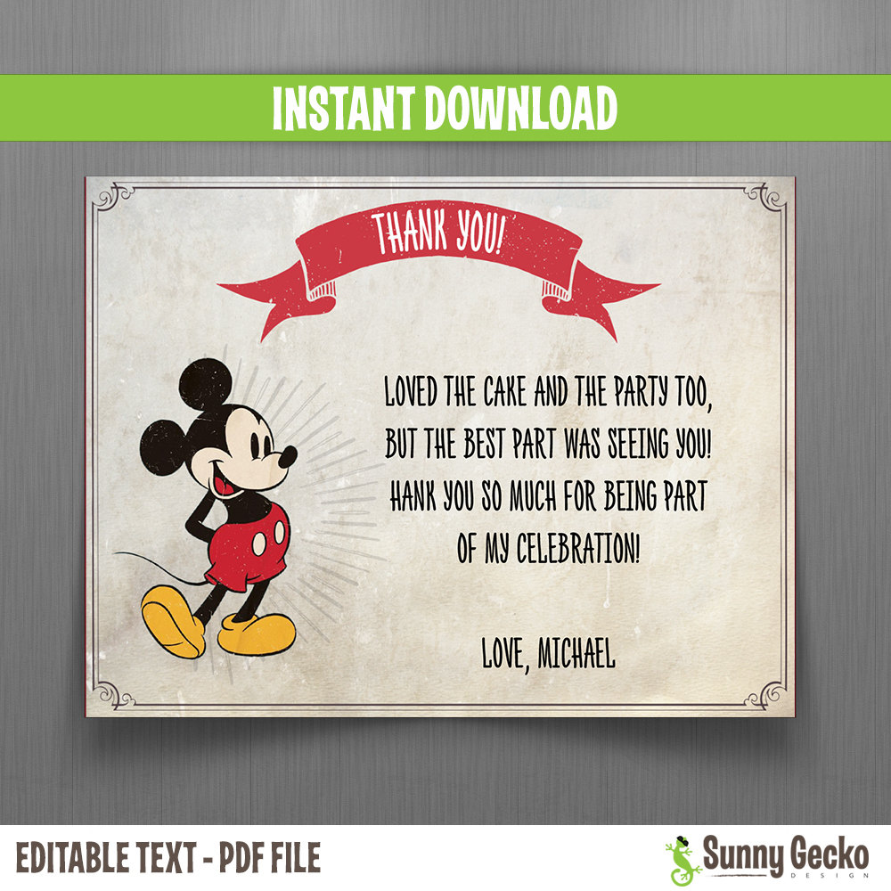 disney vintage style mickey mouse birthday thank you cards instant