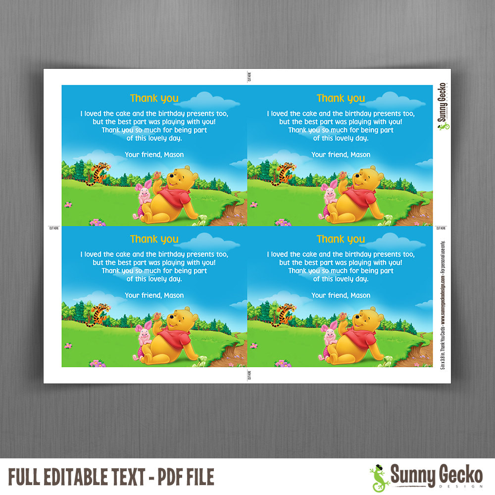 Winnie The Pooh Ticket Invitations with FREE editable Thank you – Pooh Birthday Cards