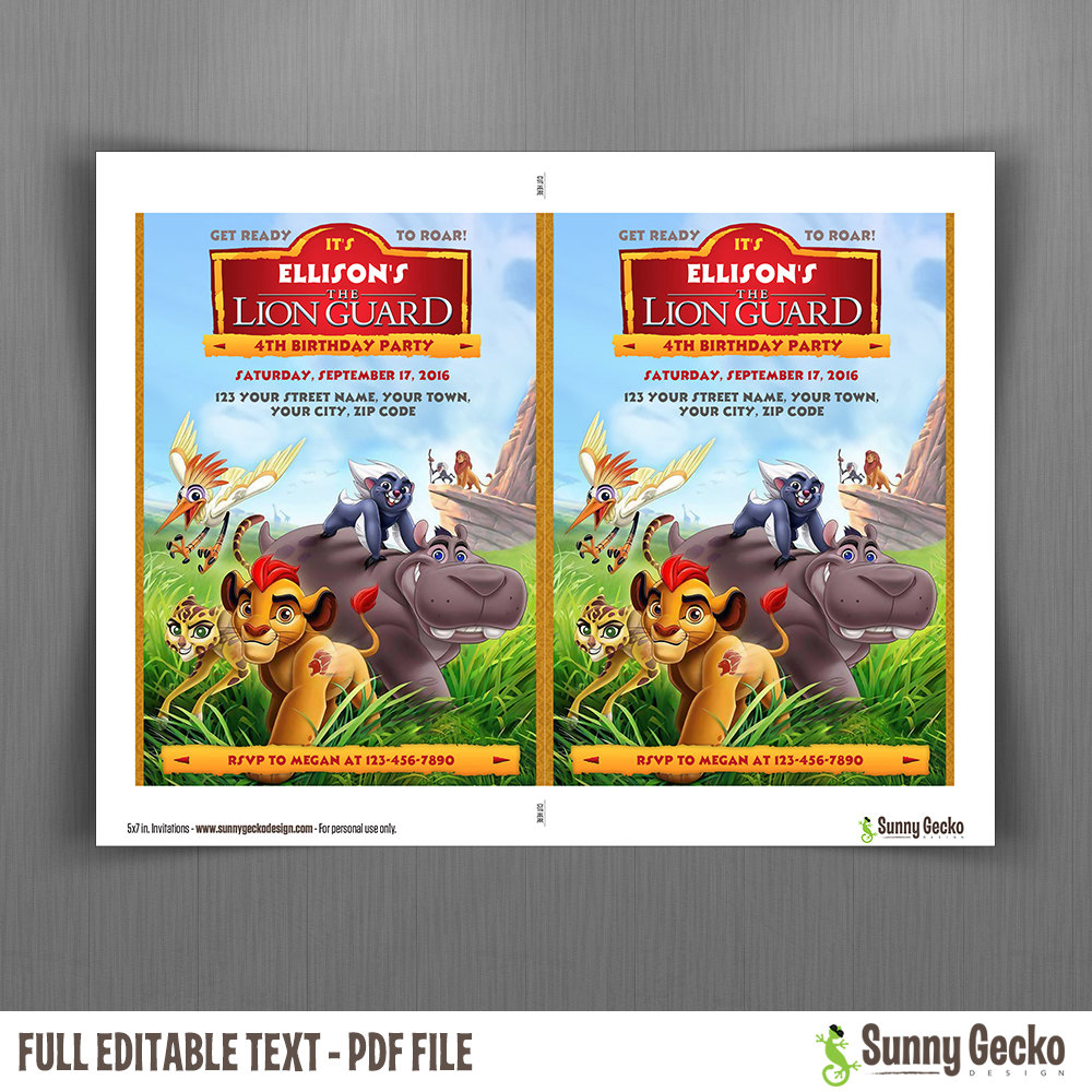 The Lion Guard Birthday Invitation Instant Download Edit and – Lion Birthday Invitations