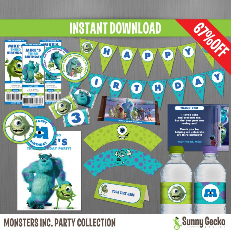 Monsters Inc. Birthday Party Collection