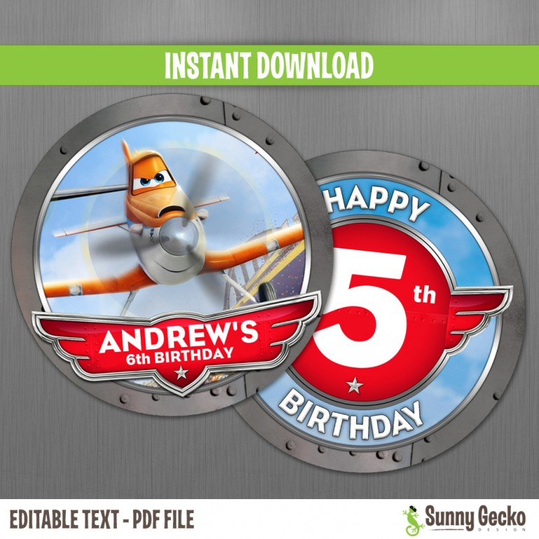 Planes Birthday Circle Labels
