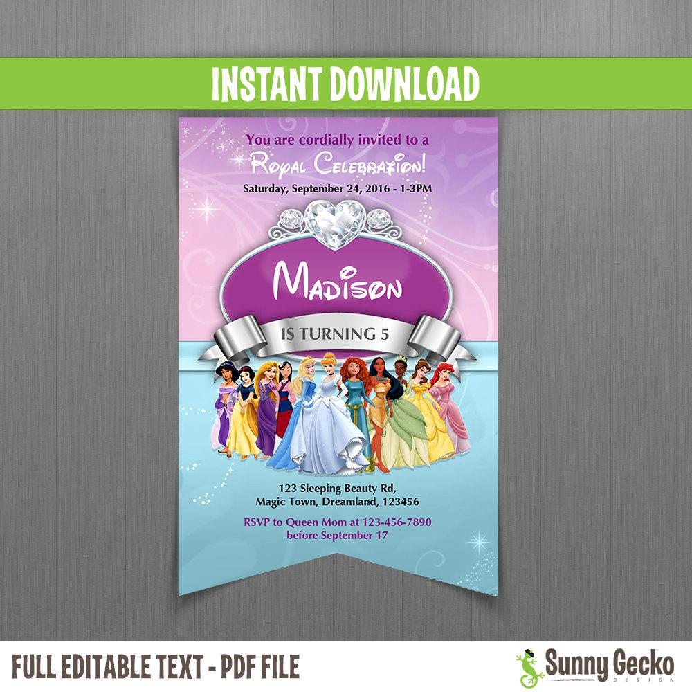 Disney Princess Scroll Birthday Invitation